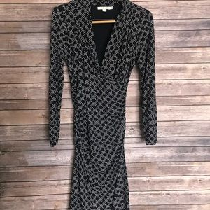 Boden printed long sleeve style wrap dress